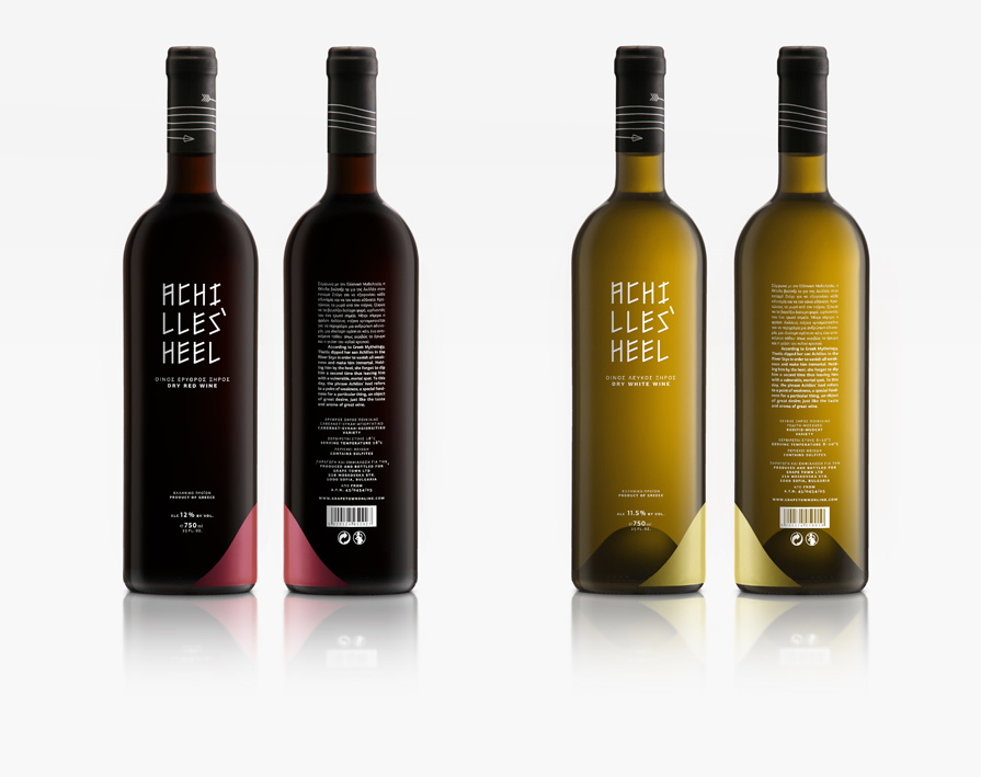 branding packaging design achilles heel wines